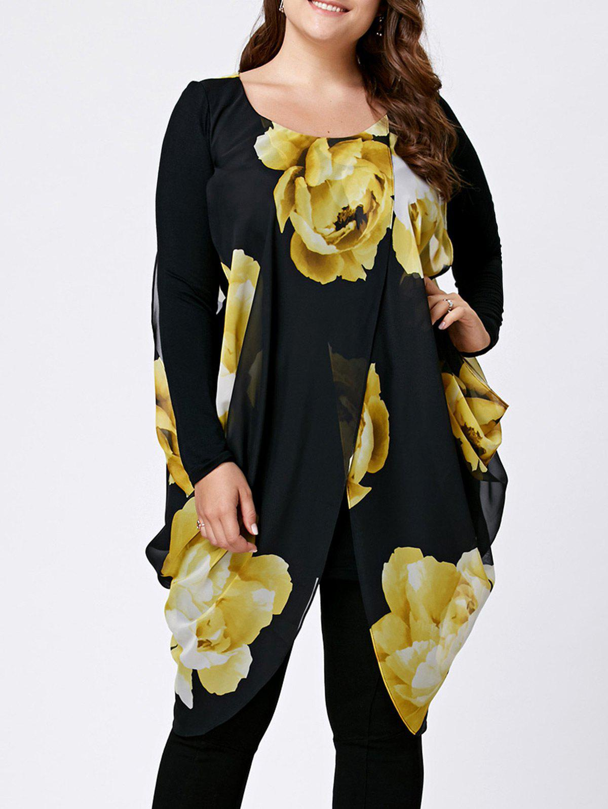 Chiffon Slit Floral Plus Size Tunic TopWOMEN<br><br>Size: 3XL; Color: COLORMIX; Material: Cotton Blends,Spandex; Shirt Length: Long; Sleeve Length: Full; Collar: Round Neck; Style: Fashion; Season: Fall,Spring; Pattern Type: Floral; Weight: 0.3660kg; Package Contents: 1 x Top;