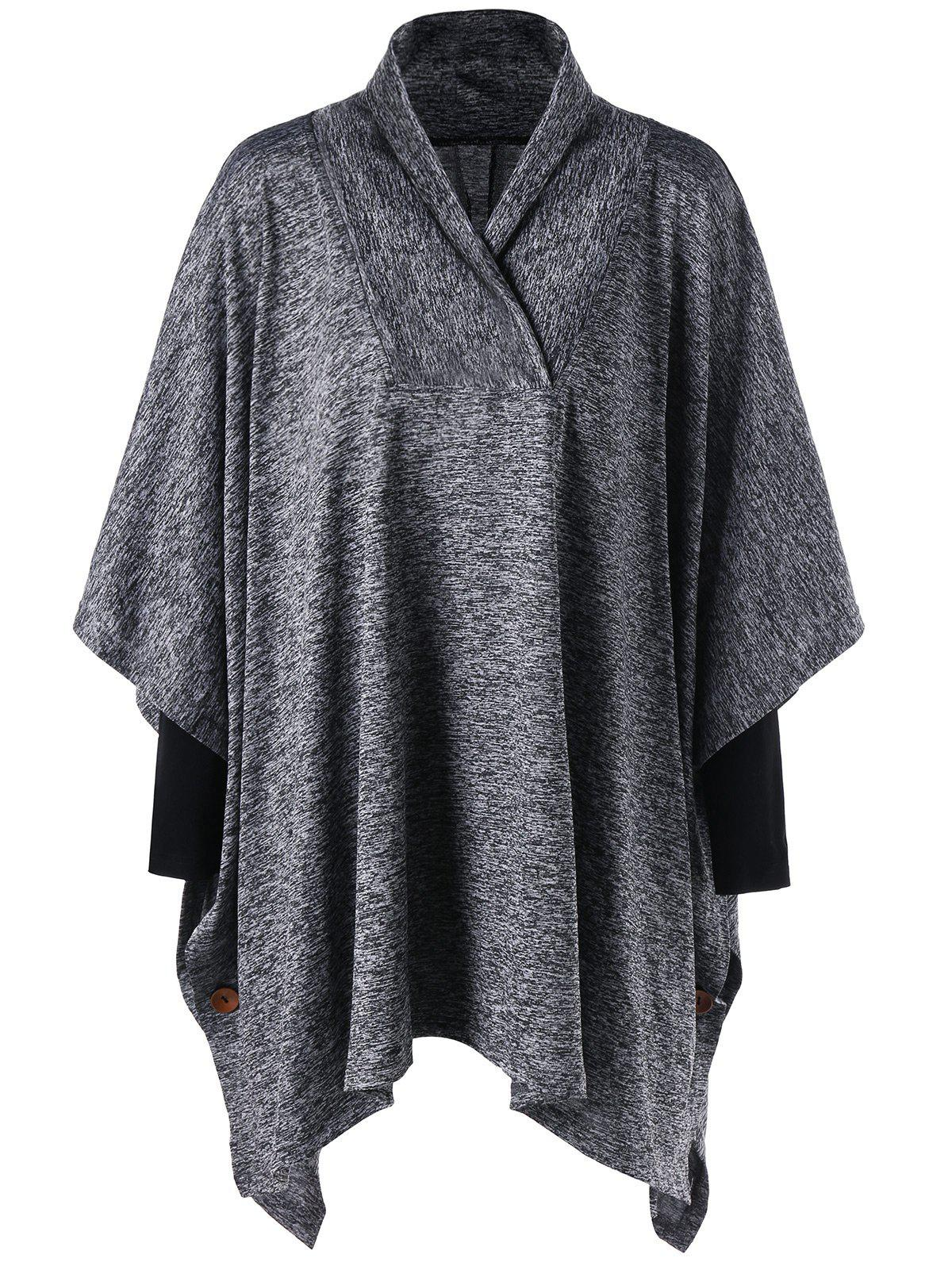 Plus Size Shawl Collar Tunic TopWOMEN<br><br>Size: 3XL; Color: GRAY; Material: Polyester; Shirt Length: Long; Sleeve Length: Three Quarter; Collar: Shawl Collar; Style: Casual; Season: Fall,Spring; Pattern Type: Solid; Weight: 0.4830kg; Package Contents: 1 x Top;