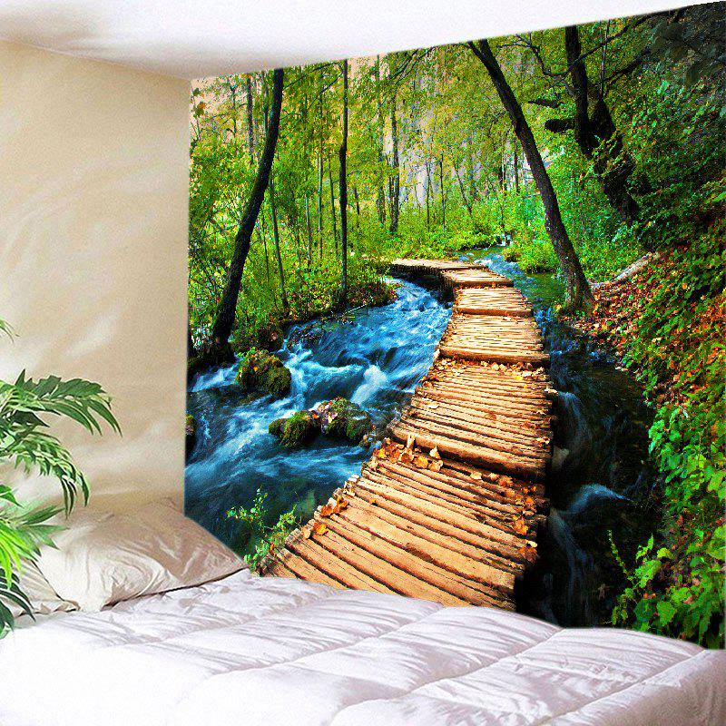 Forest Streams Path Print Tapestry Wall Hanging Art DecorationHOME<br><br>Size: W91 INCH * L71 INCH; Color: GREEN; Style: Natural; Theme: Landscape; Material: Polyester; Feature: Washable; Shape/Pattern: Forest; Weight: 0.4000kg; Package Contents: 1 x Tapestry;
