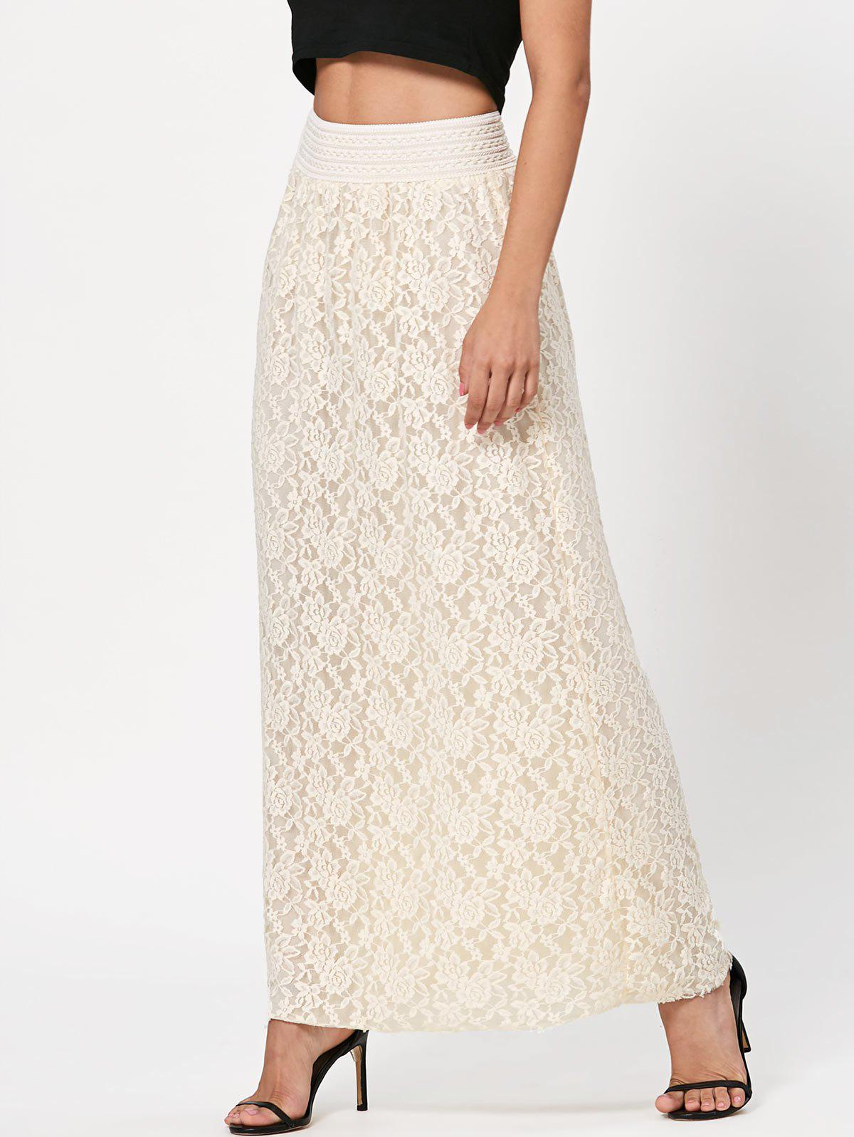 Trendy Maxi Floral Lace Skirt