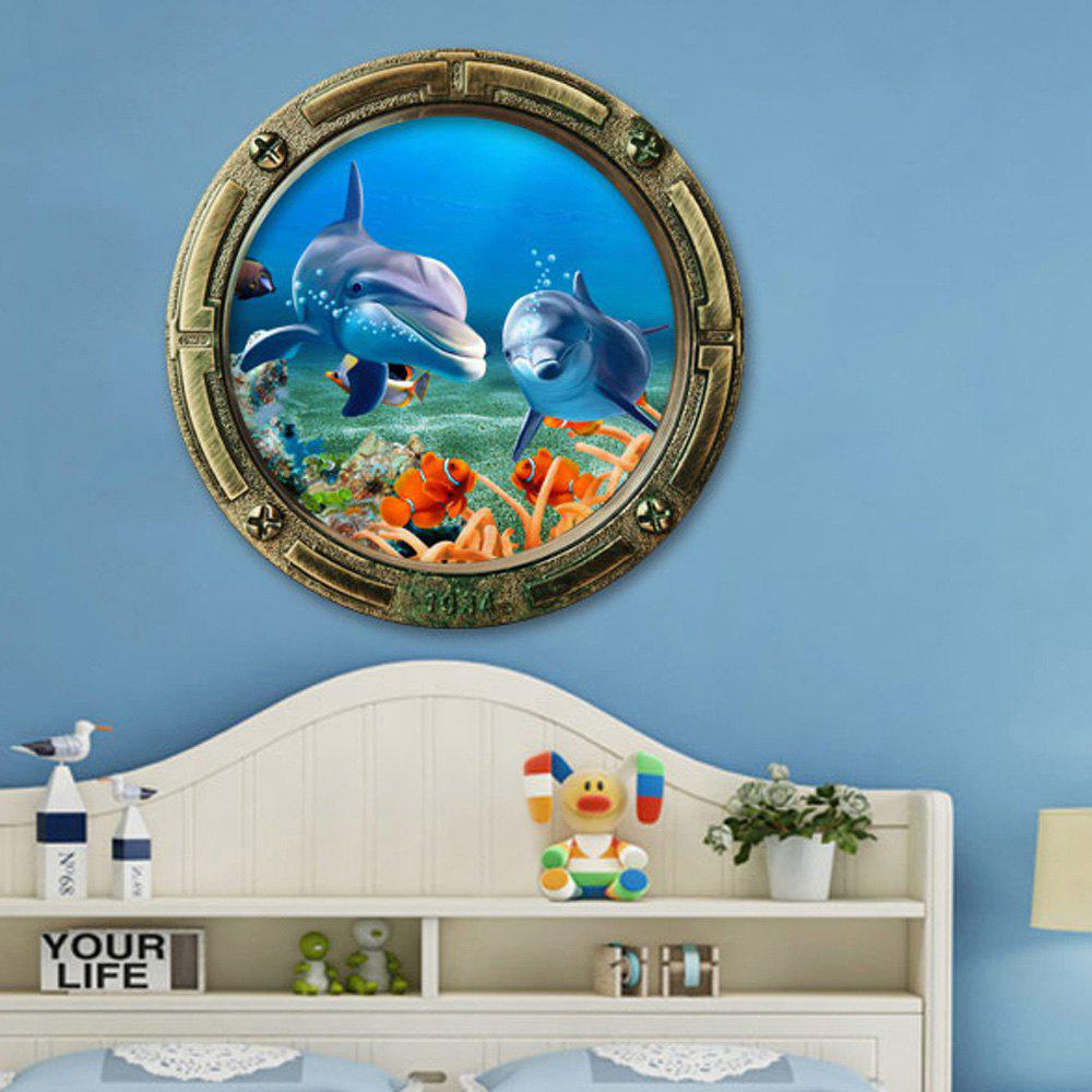3D Ocean Dolphin Animals Vinyl Wall StickerHOME<br><br>Size: 45*45CM; Color: COLORMIX; Wall Sticker Type: 3D Wall Stickers; Functions: Decorative Wall Stickers; Theme: Animals,Cartoon; Material: PVC; Feature: Removable; Weight: 0.1200kg; Package Contents: 1 x Wall Sticker;