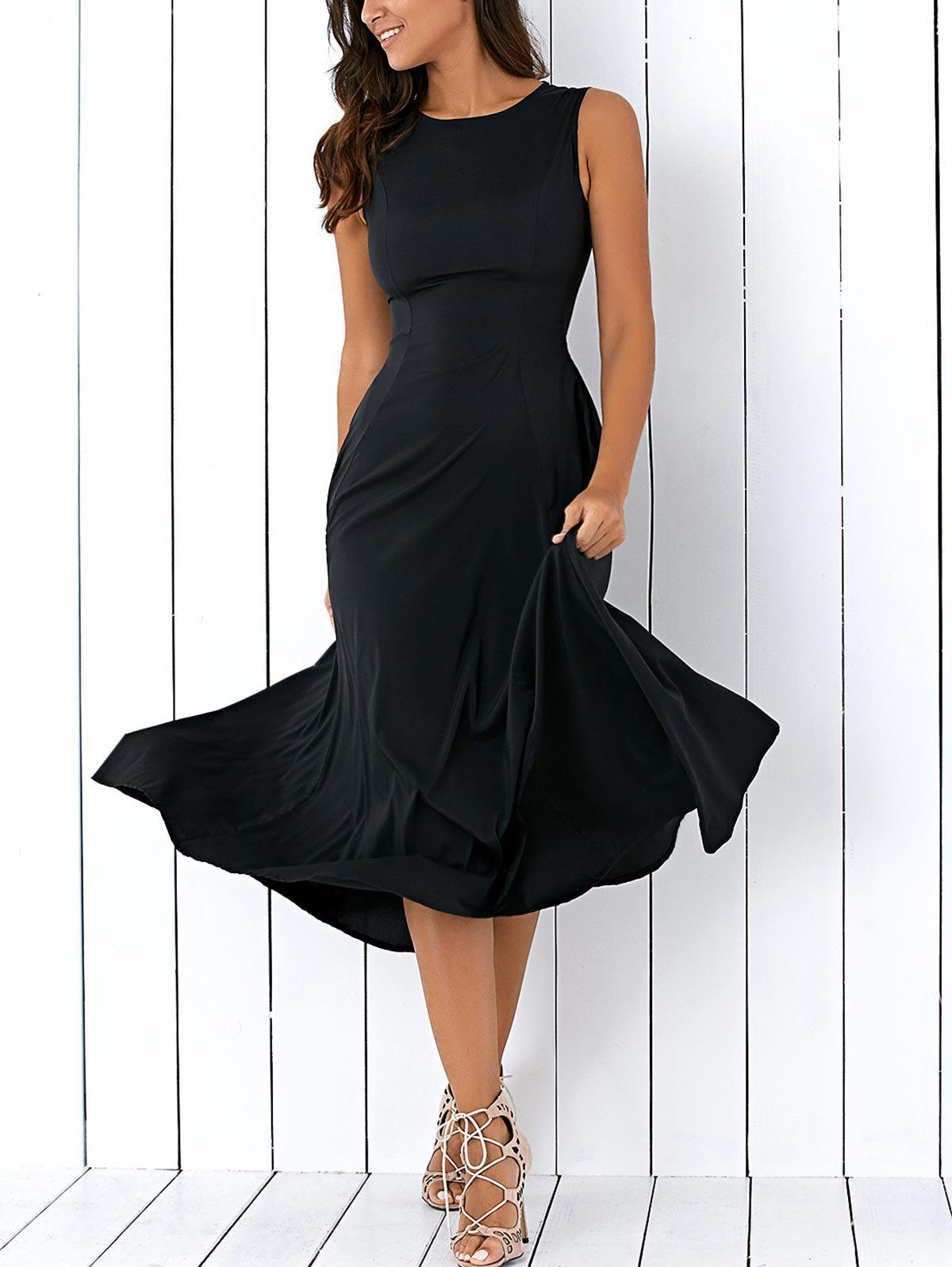 Long A Line Sleeveless Semi Formal Plain Prom DressWOMEN<br><br>Size: L; Color: BLACK; Style: Casual; Material: Cotton Blend; Silhouette: A-Line; Dresses Length: Mid-Calf; Neckline: Round Collar; Sleeve Length: Sleeveless; Pattern Type: Solid; With Belt: No; Season: Fall,Spring,Summer; Weight: 0.2460kg; Package Contents: 1 x Dress; Occasion: Semi Formal;