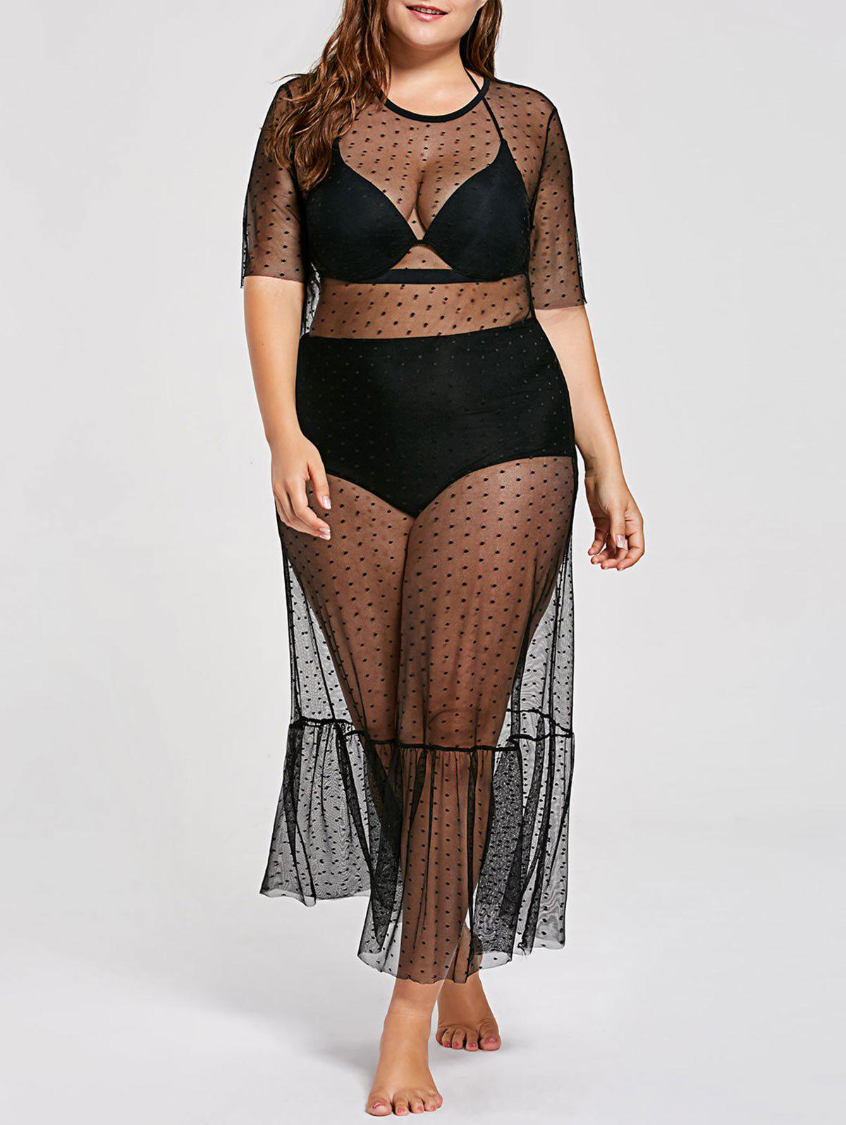 Plus Size See Through Cover Up DressWOMEN<br><br>Size: 3XL; Color: BLACK; Gender: For Women; Swimwear Type: Cover-Up; Material: Polyester; Pattern Type: Solid; Embellishment: Mesh; Waist: Natural; Weight: 0.1900kg; Package Contents: 1 x Dress;