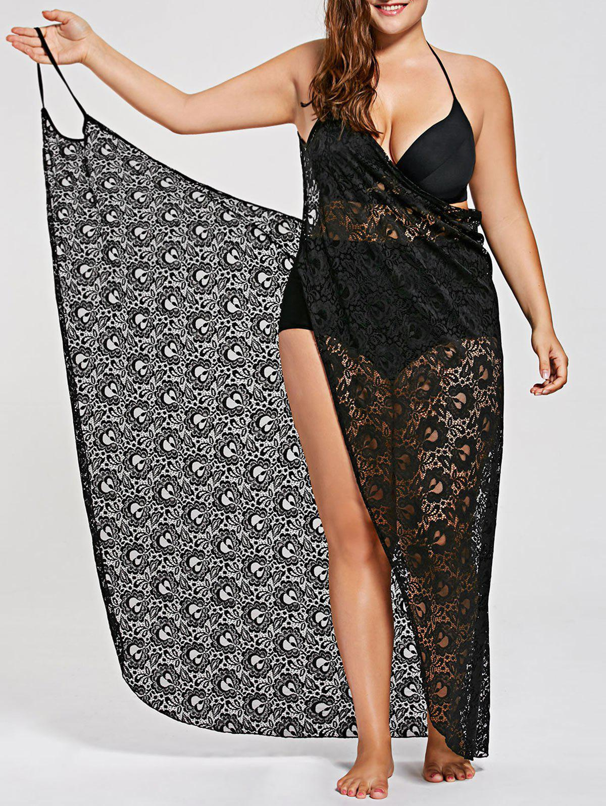 Plus Size Lace Wrap Cover Up DressWOMEN<br><br>Size: 3XL; Color: BLACK; Gender: For Women; Swimwear Type: Cover-Up; Material: Polyester,Spandex; Neckline: Spaghetti Straps; Pattern Type: Solid; Waist: Natural; Elasticity: Micro-elastic; Weight: 0.2600kg; Package Contents: 1 x Dress;