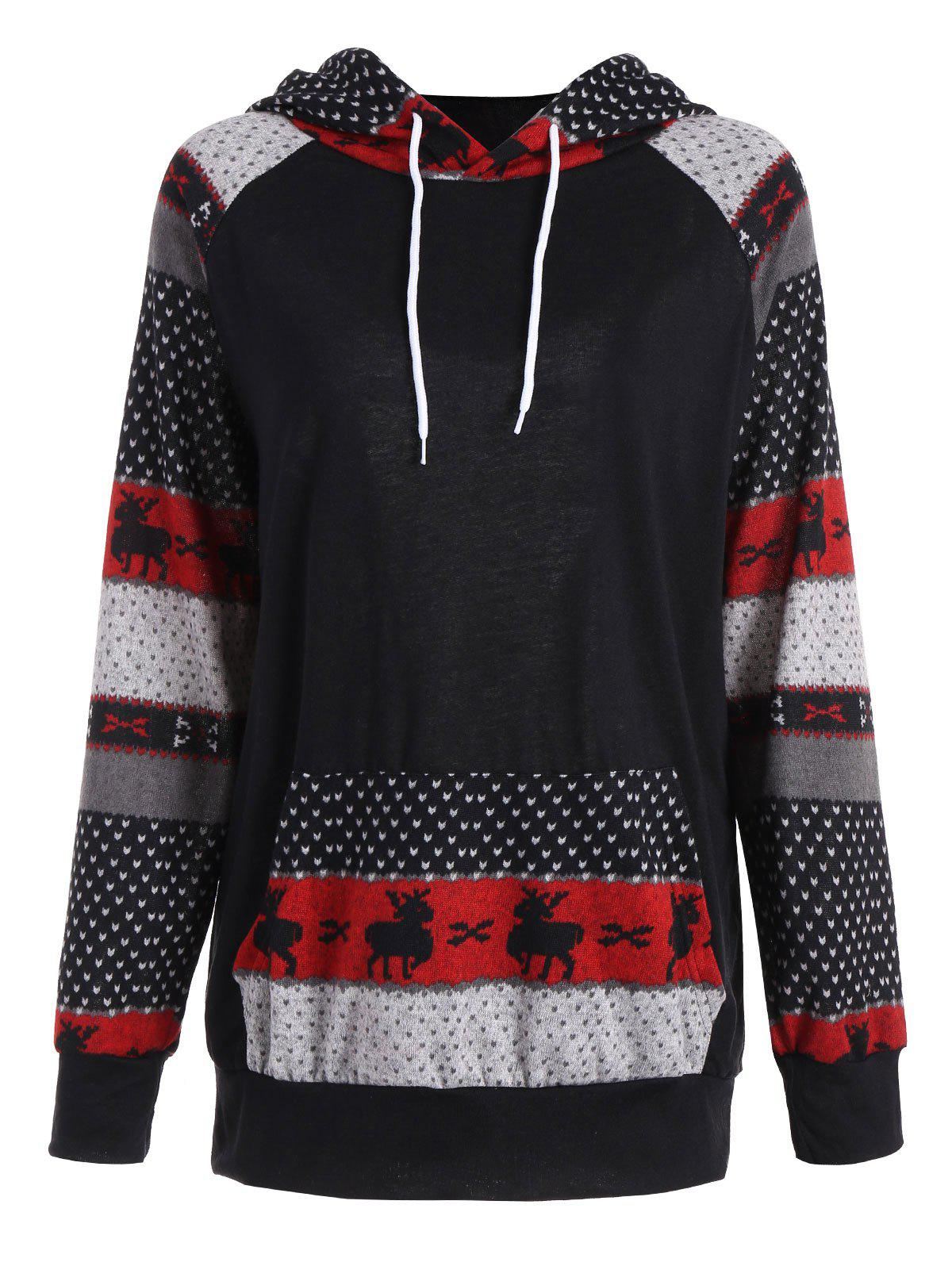 Plus Size Pocket Christmas Deer Raglan Sleeve HoodieWOMEN<br><br>Size: 5XL; Color: BLACK; Material: Cotton Blend,Polyester; Shirt Length: Long; Sleeve Length: Full; Style: Casual; Pattern Style: Patchwork; Embellishment: Panel; Season: Fall,Winter; Weight: 0.3500kg; Package Contents: 1 x Hoodie;