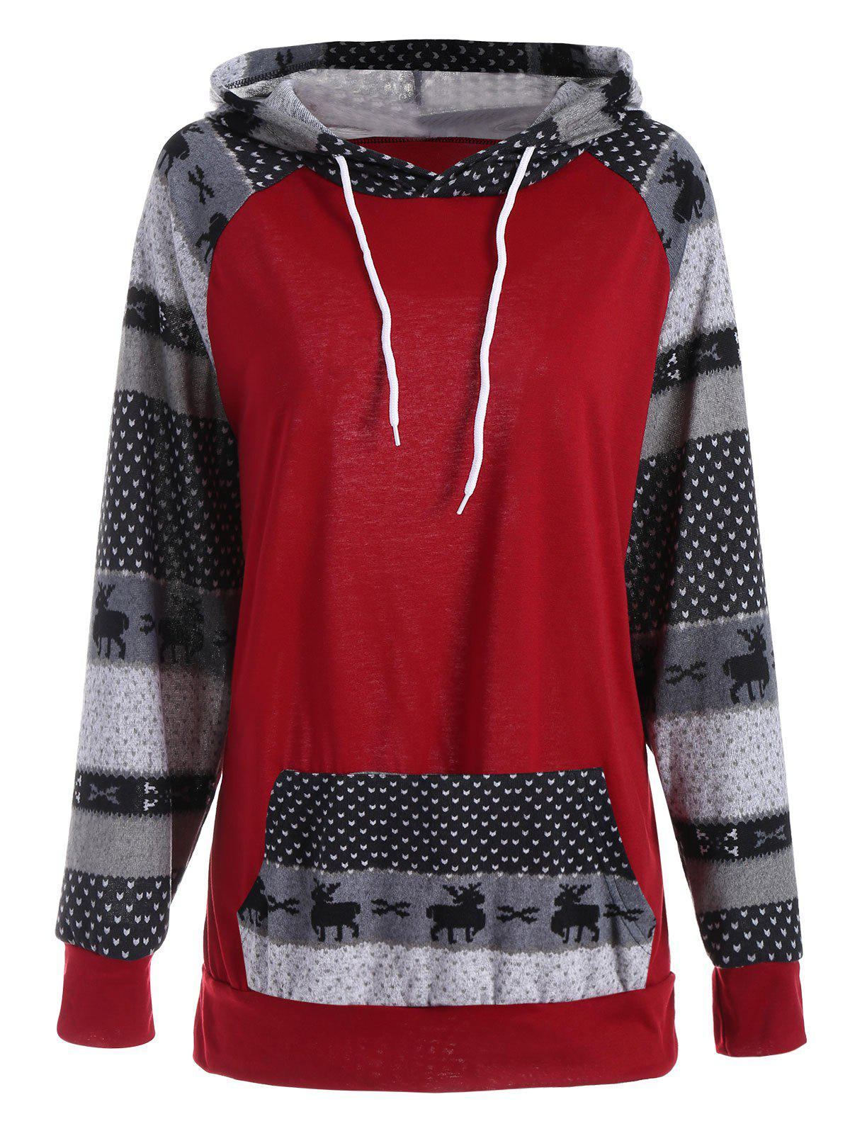 Plus Size Pocket Christmas Deer Raglan Sleeve HoodieWOMEN<br><br>Size: 3XL; Color: RED; Material: Cotton Blend,Polyester; Shirt Length: Long; Sleeve Length: Full; Style: Casual; Pattern Style: Patchwork; Embellishment: Panel; Season: Fall,Winter; Weight: 0.3500kg; Package Contents: 1 x Hoodie;