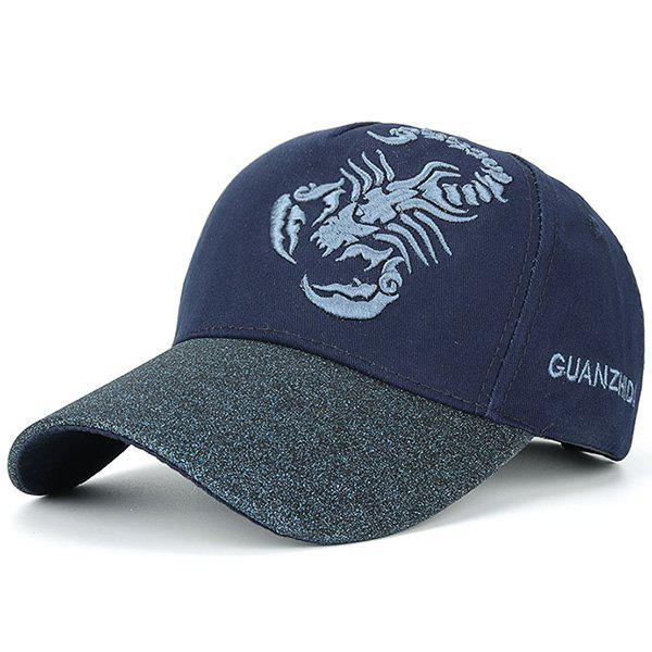 Scorpion Letters Embroidered Baseball CapACCESSORIES<br><br>Color: PURPLISH BLUE; Hat Type: Baseball Caps; Group: Adult; Gender: Unisex; Style: Fashion; Pattern Type: Animal; Material: Polyester; Weight: 0.1100kg; Package Contents: 1 x Hat;