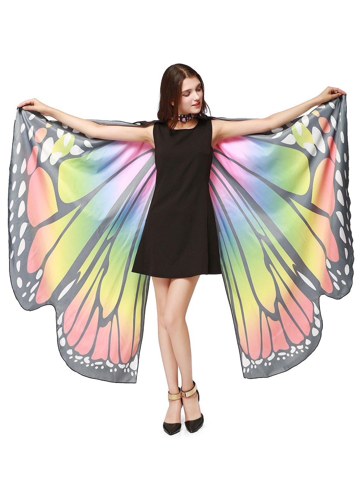 Oversize Chiffon Butterfly Wing Design Strap CapeACCESSORIES<br><br>Color: COLORFUL; Scarf Type: Shawl/Wrap; Group: Adult; Gender: For Women; Style: Fashion; Pattern Type: Animal; Season: Fall,Spring,Summer,Winter; Scarf Length: 168CM; Scarf Width (CM): 135CM; Weight: 0.2000kg; Package Contents: 1 x Cape Scarf;