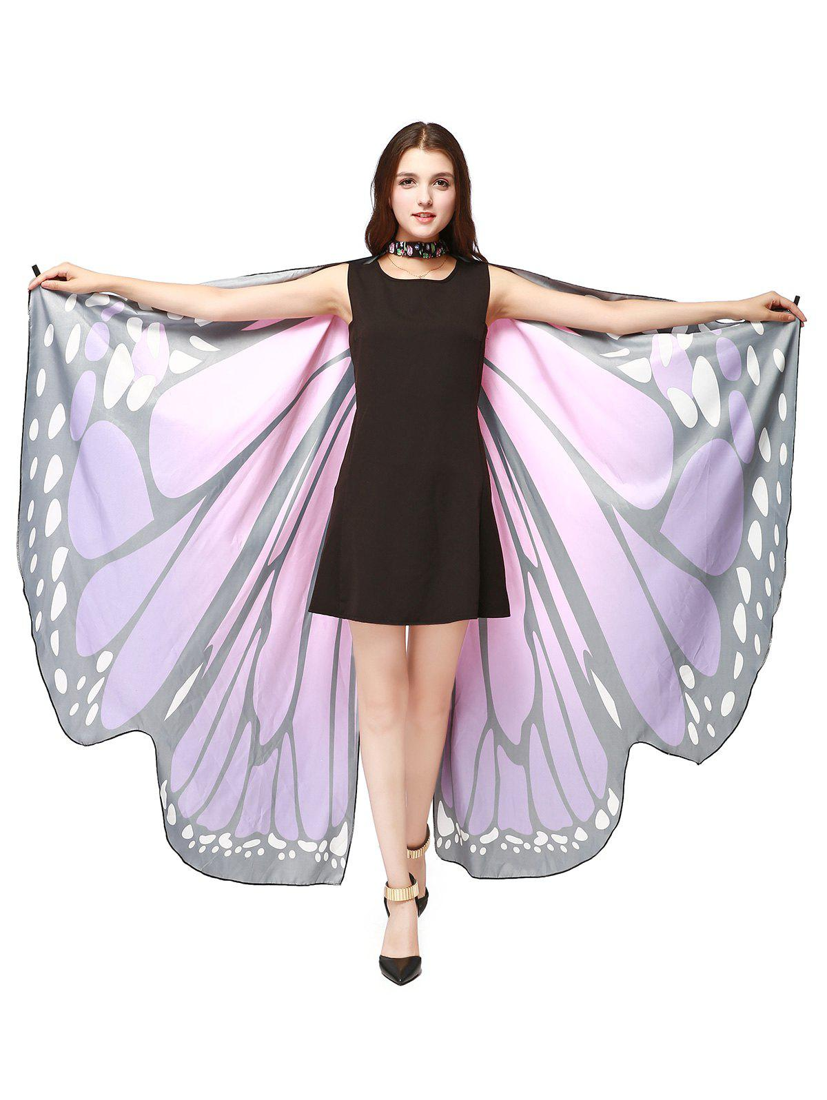 Oversize Chiffon Butterfly Wing Design Strap CapeACCESSORIES<br><br>Color: PURPLE; Scarf Type: Shawl/Wrap; Group: Adult; Gender: For Women; Style: Fashion; Pattern Type: Animal; Season: Fall,Spring,Summer,Winter; Scarf Length: 168CM; Scarf Width (CM): 135CM; Weight: 0.2000kg; Package Contents: 1 x Cape Scarf;