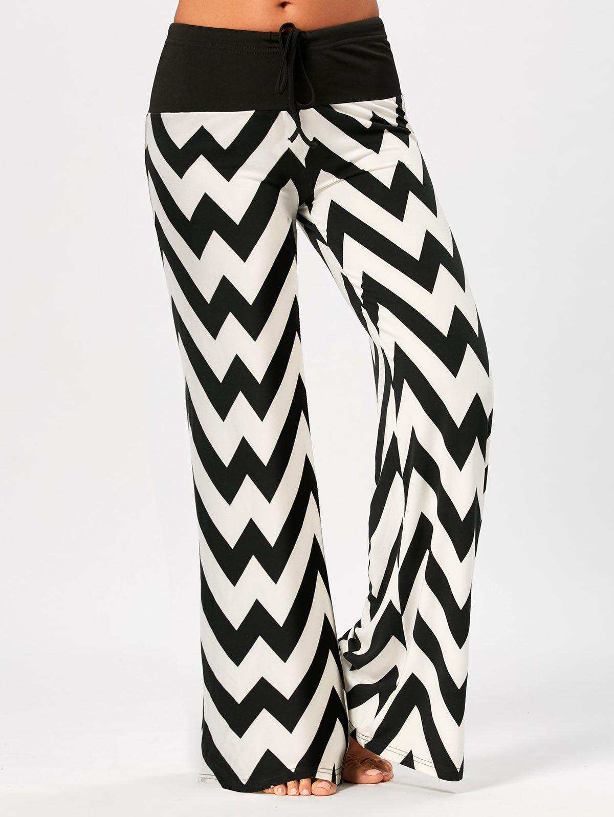 Zigzag Print Drawstring Palazzo PantsWOMEN<br><br>Size: M; Color: WHITE AND BLACK; Style: Fashion; Length: Normal; Material: Polyester,Spandex; Fit Type: Regular; Waist Type: Mid; Closure Type: Drawstring; Front Style: Flat; Pattern Type: Chevron/Zig Zag,Print; Pant Style: Wide Leg Pants; Elasticity: Micro-elastic; With Belt: No; Weight: 0.3600kg; Package Contents: 1 x Pants;