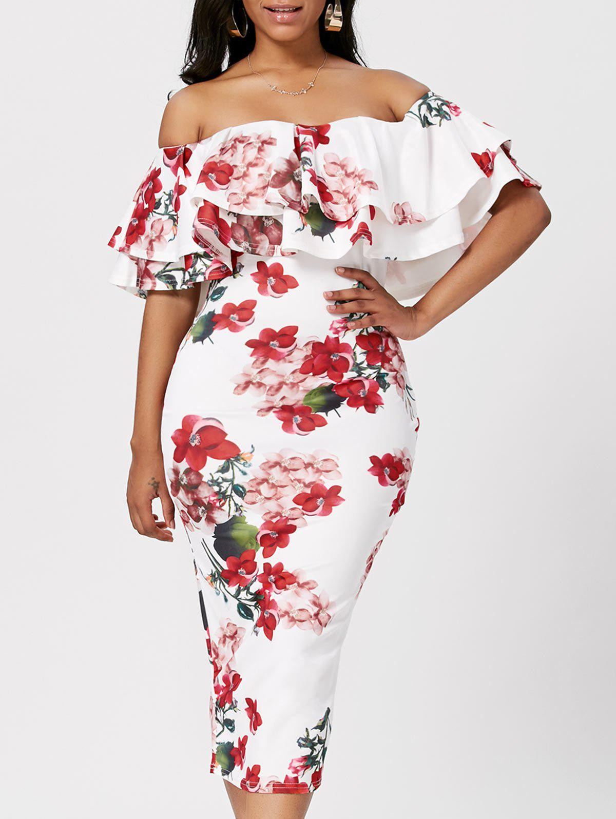 Shop Ruffle Off The Shoulder Bodycon Floral Dress