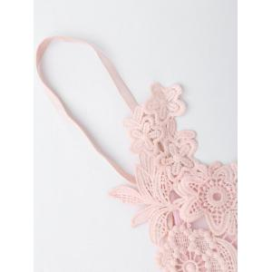 Applique Mesh Triangle Bralette - PINK L