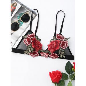Floral Embroidered Mesh Bralette