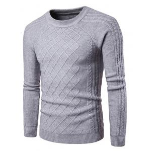 Raglan Sleeve Geometric Ribbed Sweater