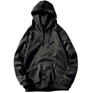 Pocket Design Pullover Plain Hoodie - Black - 3xl