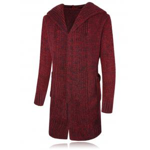 Open Front Heathered Hooded Cardigan - Wine Red - M