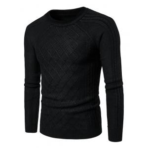 Raglan Sleeve Geometric Ribbed Sweater - Black - 2xl