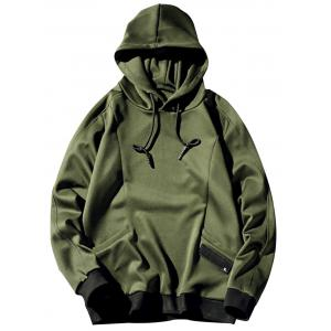 Pocket Design Pullover Plain Hoodie - Army Green - L