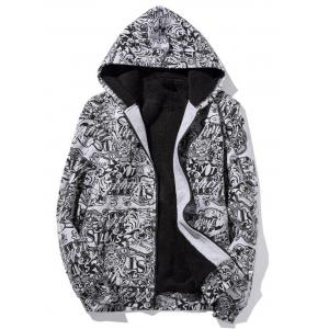 Zip Up Print Flocking Hoodie - Gray - 5xl