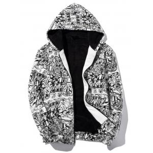 Zip Up Print Flocking Hoodie