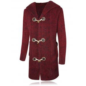 Claw Button Hooded Heathered Cardigan