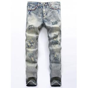 Straight Leg Blends Wash Ripped Jeans - Blue Gray - 38