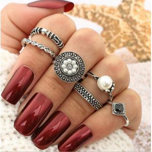 Faux Pearl Vintage Round Finger Ring Set - Silver