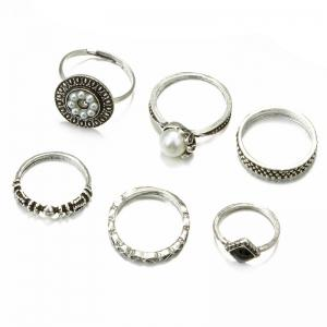 Faux Pearl Vintage Round Finger Ring Set -