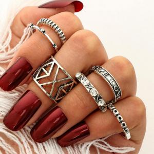 Engraved Geometric Love Finger Ring Set - Silver - One-size
