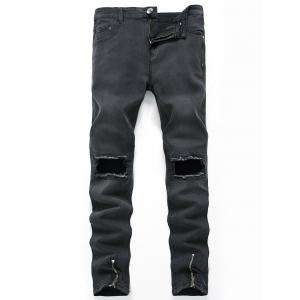 Zippers Design Hollow Straight Leg Ripped Jeans