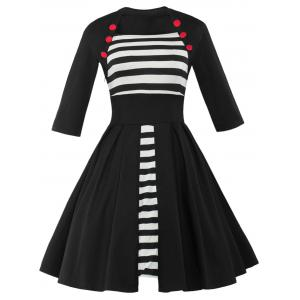 Vintage Button Embellished Striped Plus Size Dress
