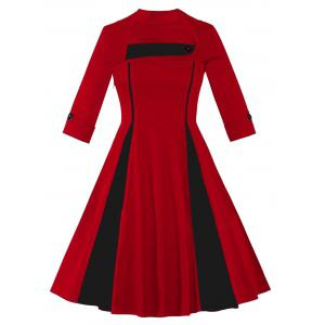 Vintage Two Tone Fit and Flare Plus Size Dress
