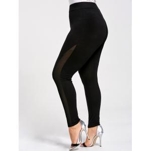 Mesh Panel Plus Size Skinny Leggings - Black - 2xl