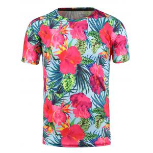 3D Flowers Print Hawaiian T-shirt - Light Blue - 3xl