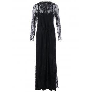 Lace Up Sheer Long Sleeve Maxi Dress