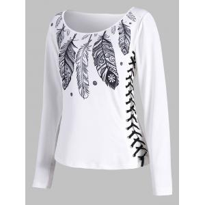 Lace Up Feather Print T-shirt - White - S