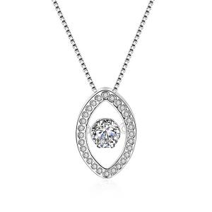Rhinestone Horse Eye Pendant Necklace - Silver - 8