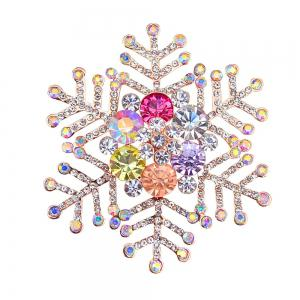 Winter Snowflake Shape Rhinestone Brooch - Golden