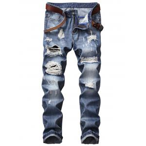 Straight Leg Bleached Effect Distressed Jeans