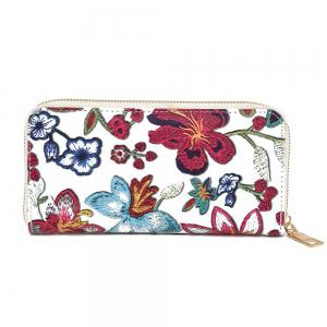 Embroidery Zip Round Clutch Wallet