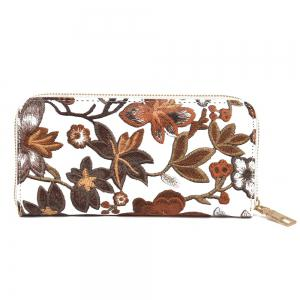 Embroidery Zip Round Clutch Wallet - Brown