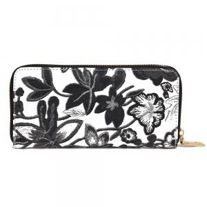 Embroidery Zip Round Clutch Wallet - Black