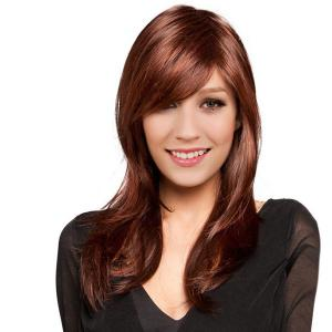 Long Oblique Bang Straight Colormix Synthetic Wig - 58cm