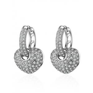 Rhinestones Heart Pendant Hoop Earrings