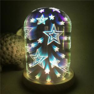 3D Glass Shade Colourful Stars Night Light