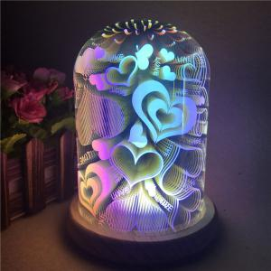 3D Colorful Glass Shade Hearts Decoration Night Light -