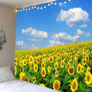Sky and Sunflowers Pattern Waterproof Wall Hanging Tapestry