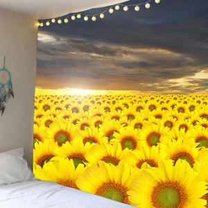 Waterproof Sea of Sunflowers Pattern Wall Art Tapestry