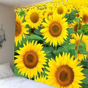 Waterproof Sunflowers Pattern Wall Hanging Tapestry - Green And Yellow - W79 Inch * L79 Inch