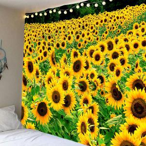 Sunflowers Printed Hanging Waterproof Tapestry - Yellow - W79 Inch * L59 Inch